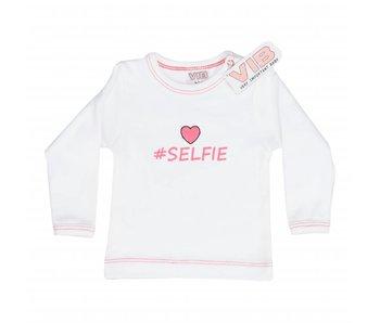 T-shirt #SELFIE – Wit/Roze