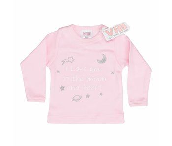 T-shirt I Love You To The Moon And Back – Roze