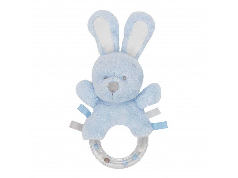 Very Important Baby Knuffel Pluche Konijn Rammelaar - Blauw