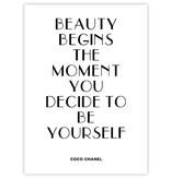 Prints & Posters Woon-/Wenskaart Coco Chanel Beauty