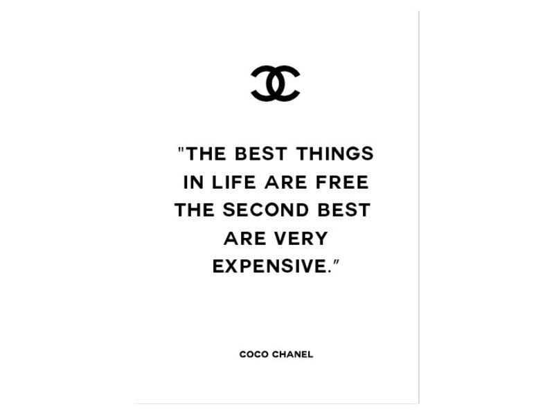 Prints & Posters Woon-/Wenskaart Coco Chanel The best things