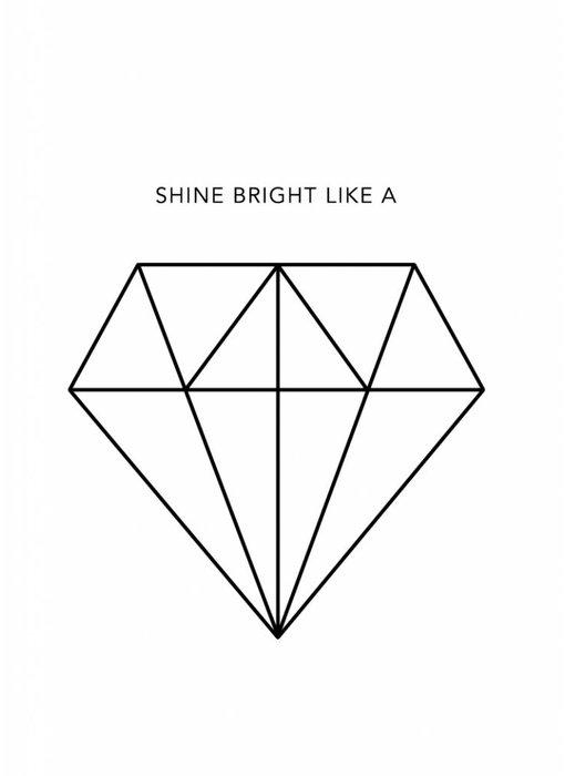 Woon-/Wenskaart Shine bright like a…