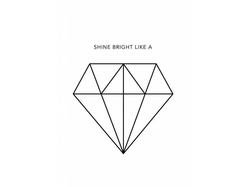 Prints & Posters Woon-/Wenskaart Shine bright like a…