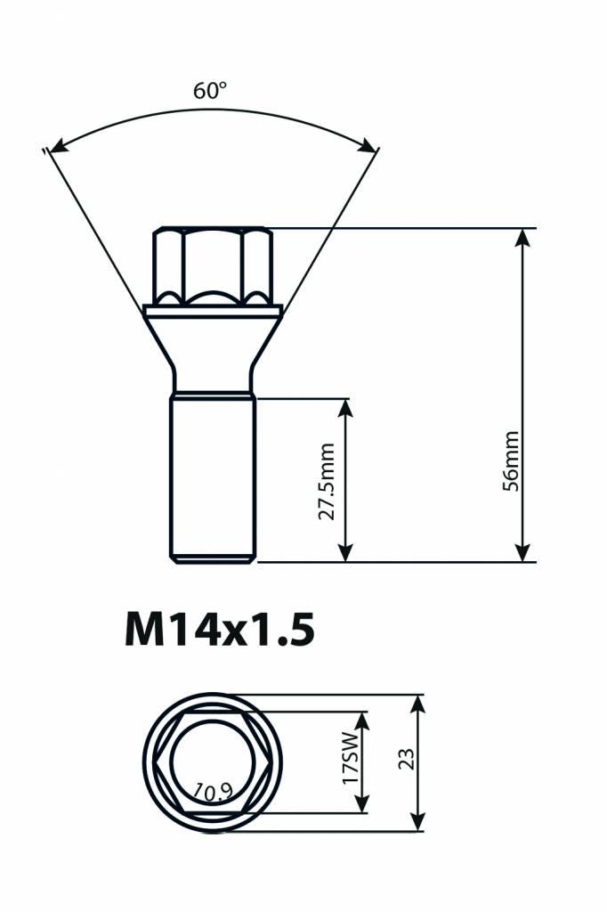 turemo schraube sw17 m14x1 5x33 60 verz turemo shop. Black Bedroom Furniture Sets. Home Design Ideas