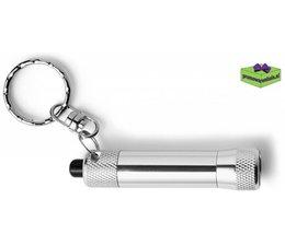 Zaklamp LED met sleutelhanger graveren zilver