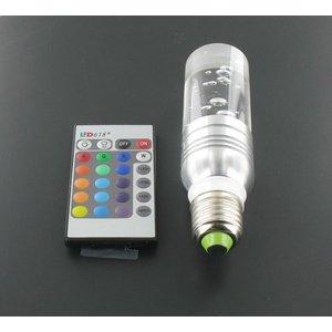 3 Watt RGB Kristall LED Birne E27 mit IR-Fernbedienung