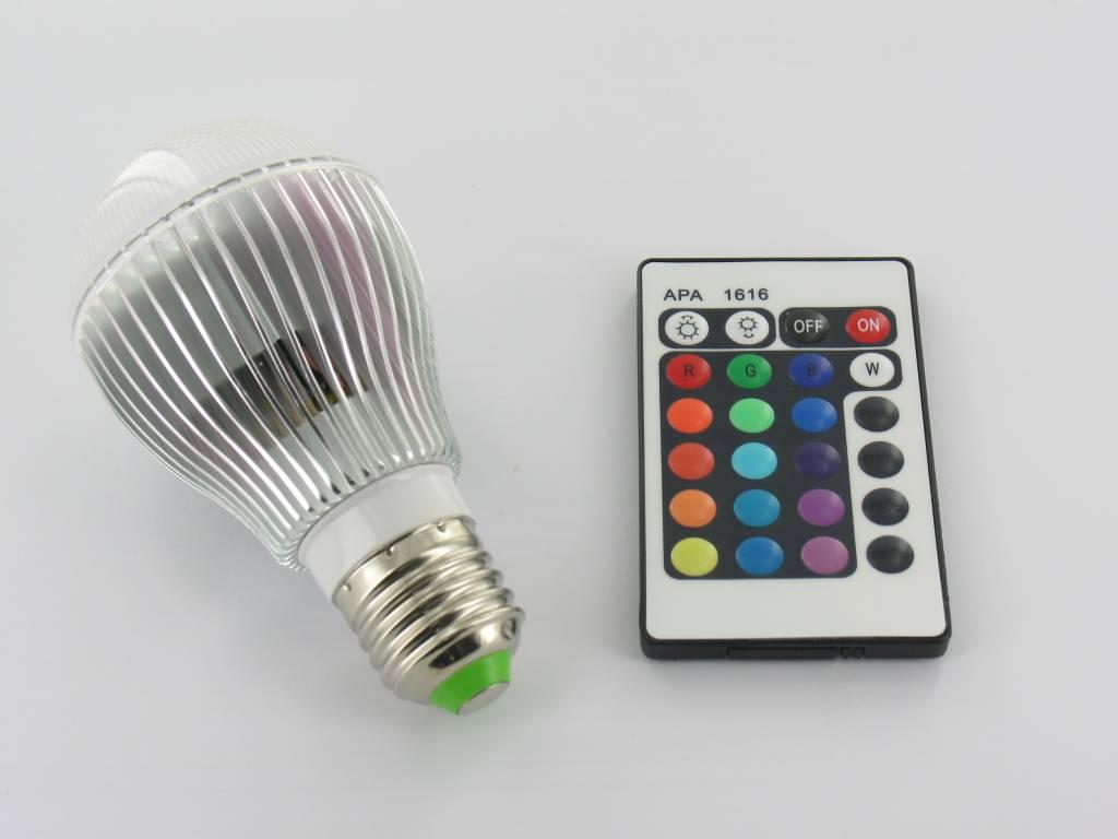 rgb 9 watt led 39 bulb 39 e27 met ir afstandsbediening groothandel xl. Black Bedroom Furniture Sets. Home Design Ideas