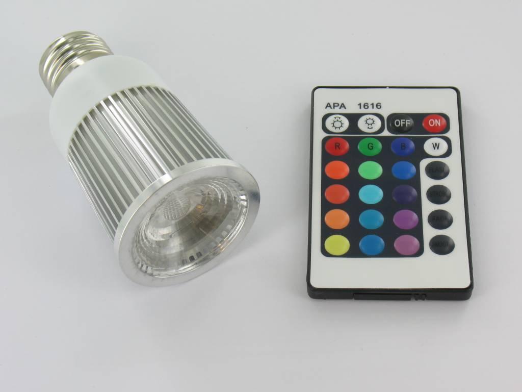 rgb 5 watt led spot e27 met ir afstandsbediening groothandel xl. Black Bedroom Furniture Sets. Home Design Ideas