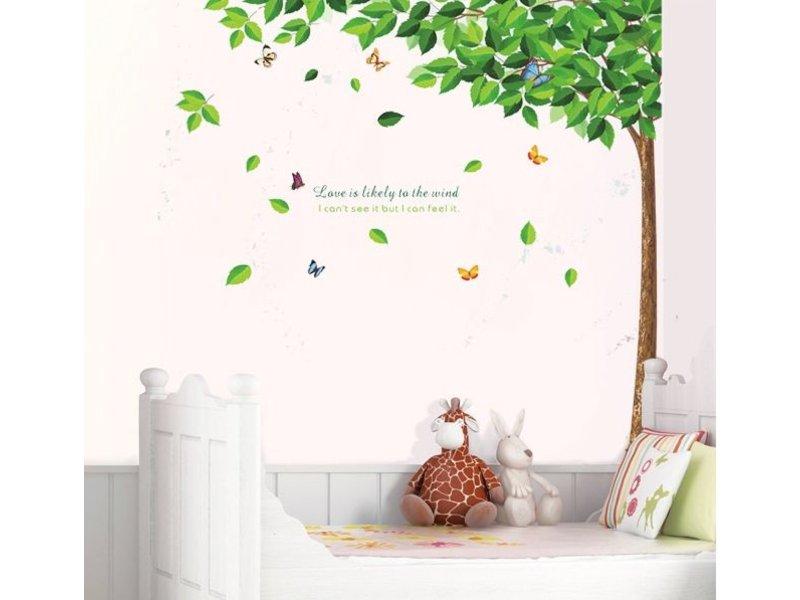 Muursticker Boom met vlinders