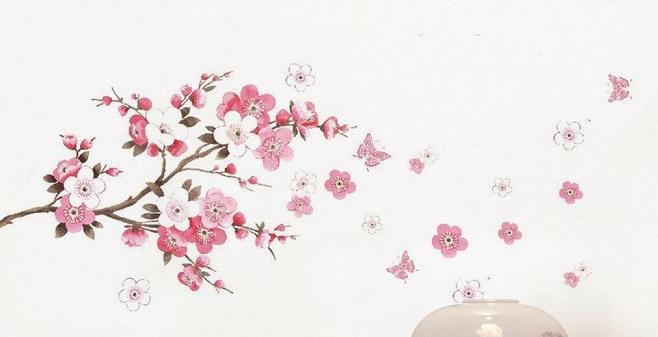 Muursticker Roze Bloesem Versierendoejezo Webwinkel