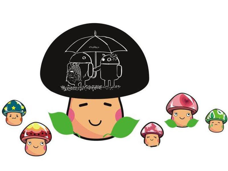 krijtbord muursticker paddenstoel