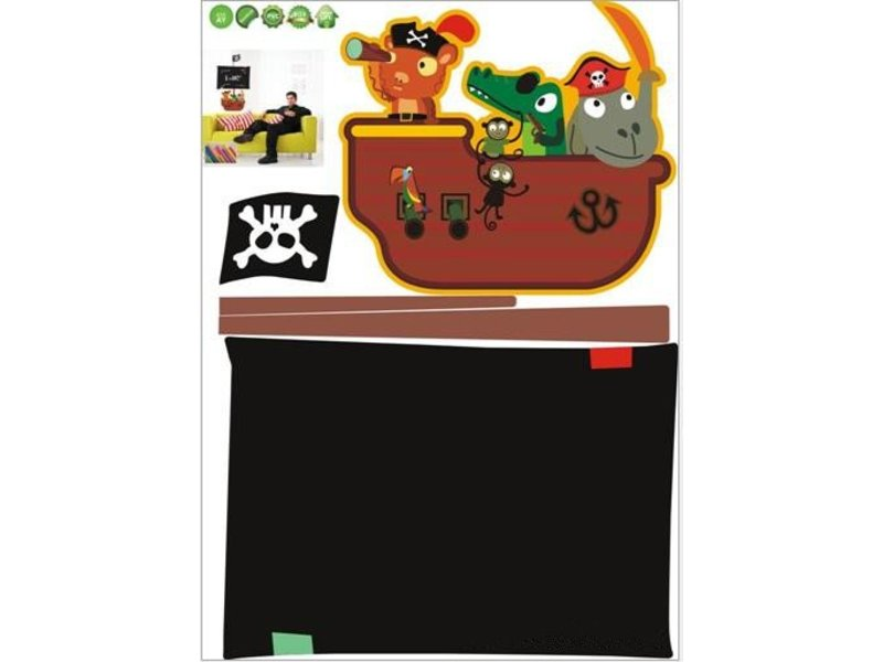 krijtbord muursticker piratenschip