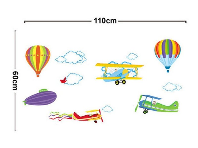 Luchtballon vliegtuig muursticker