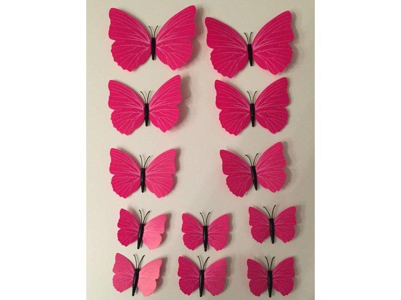 Vlinderset roze muurdecoratie