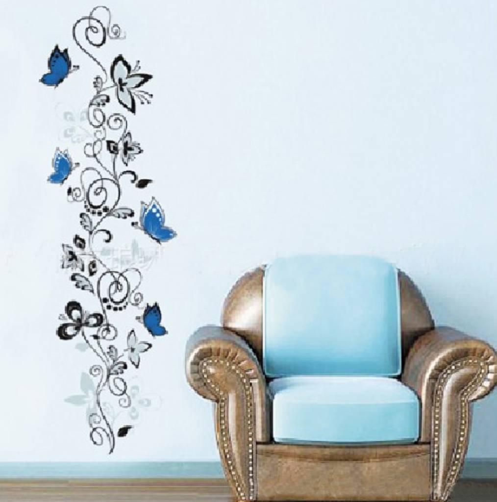 Muursticker vlinder en bloemen - Versierendoejezo! webwinkel & workshops