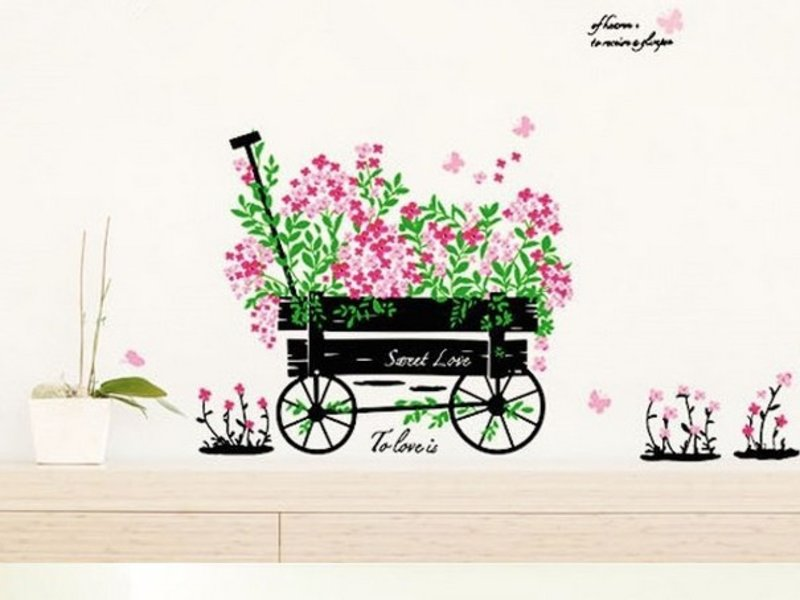Muursticker kar met bloemen