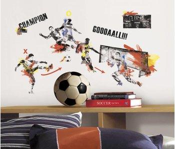 Flitsende voetbal muursticker