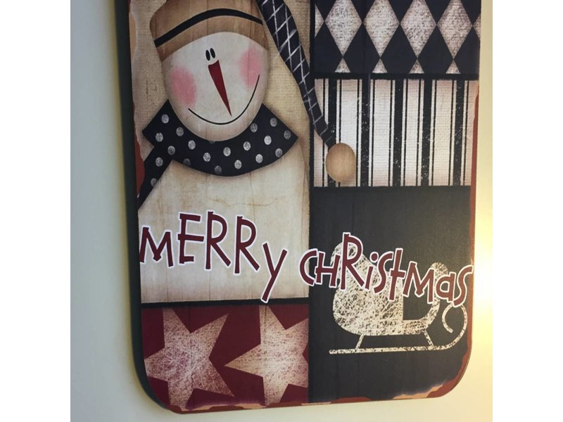 Merry christmas groot bord sneeuwpop