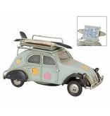 Clayre & Eef Metalen eend blauw 2cv klein met fotolijst en spaarpot