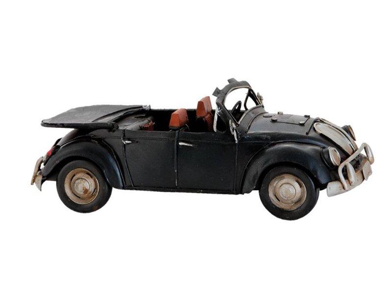 Clayre & Eef Metalen zwarte kever cabrio modelauto