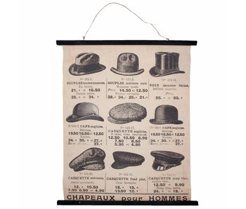 Clayre & Eef Linnen vintage hoedenkaart