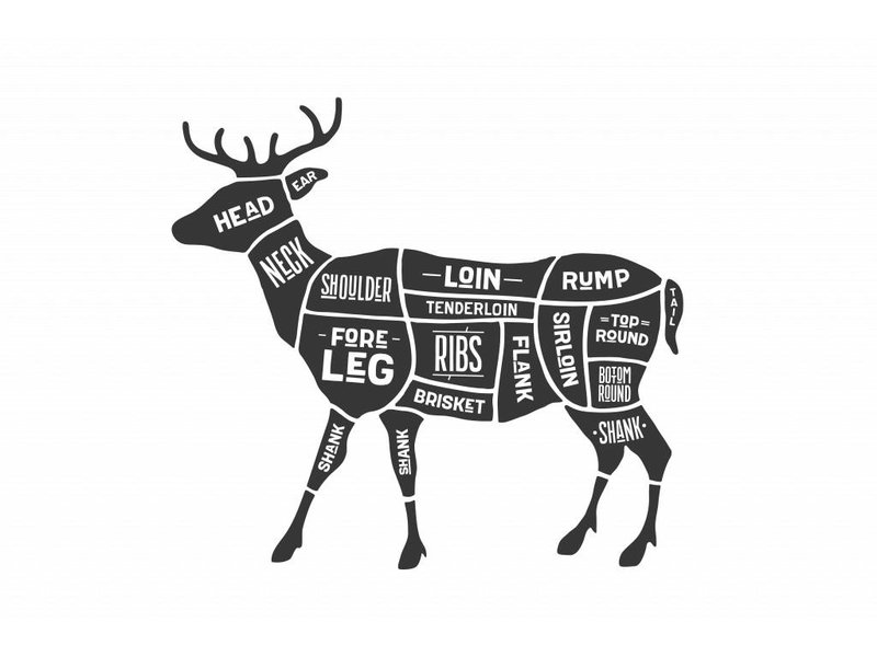 Sticker cuts of venison Slager hert
