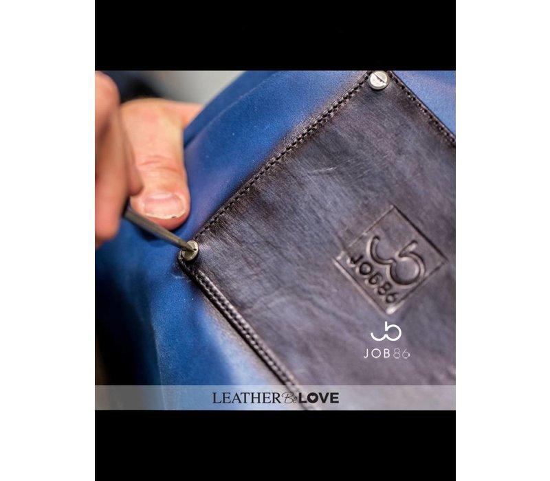 Leren BBQ schort | Kookschort | Blauw