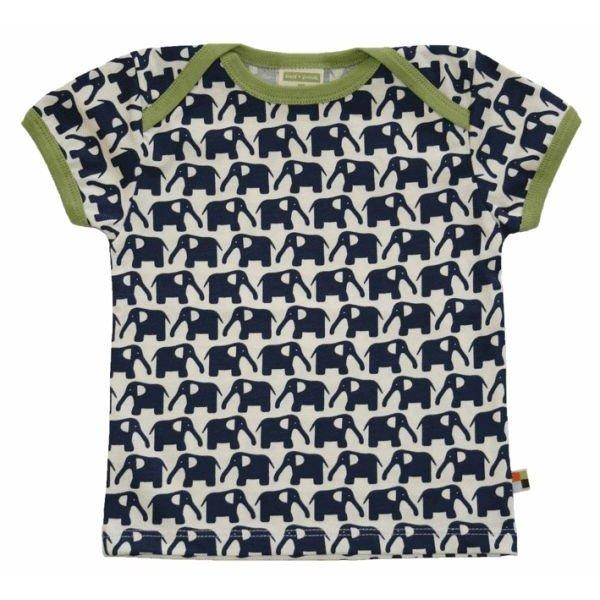 T-Shirt 204 - Druck Elefanten in Marine - Single Jersey