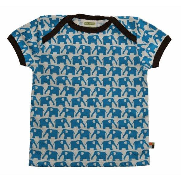 T-Shirt 204 - Druck Elefanten in Aqua - Single Jersey