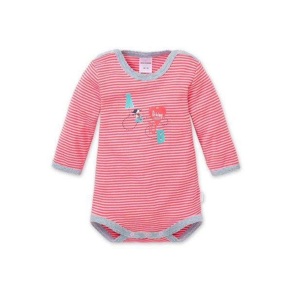 Langarm Baby Body rosarot geringelt