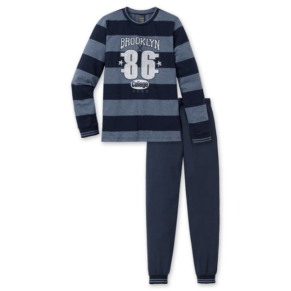 Jungen Schlafanzug lang dunkelblau melange