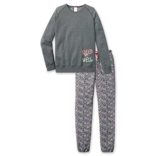 Mädchen Schlafanzug lang grau melange