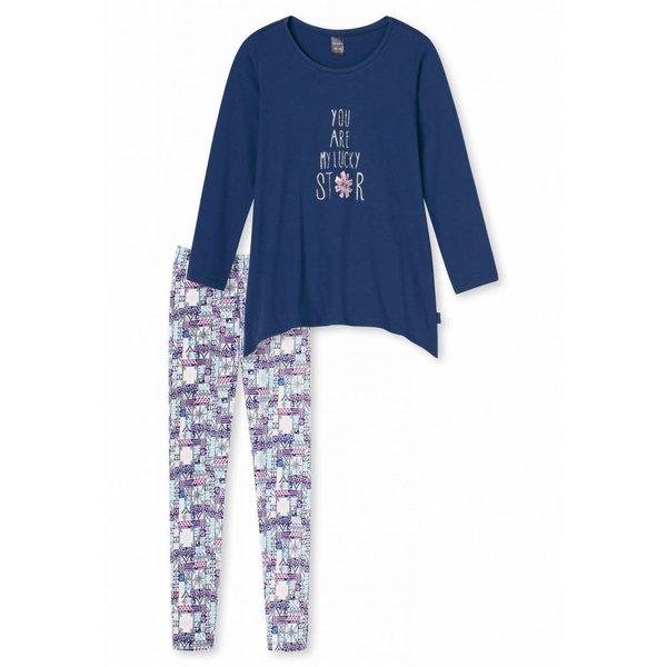 Mädchen Schlafanzug lang blau