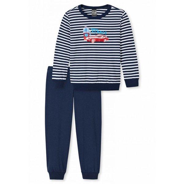 Jungen Schlafanzug lang dunkeblau-weiß geringelt