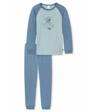 Schiesser Jungen Schlafanzug lang jeansblau