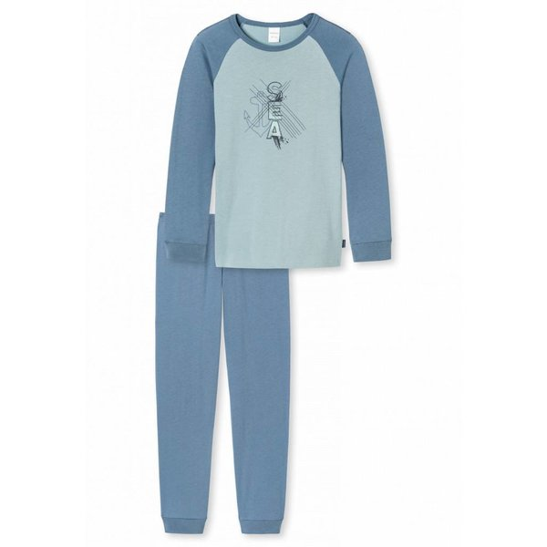 Jungen Schlafanzug lang jeansblau