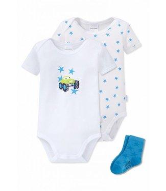 Schiesser Baby Set 2 Bodys 1 Paar Socken weiss/blau