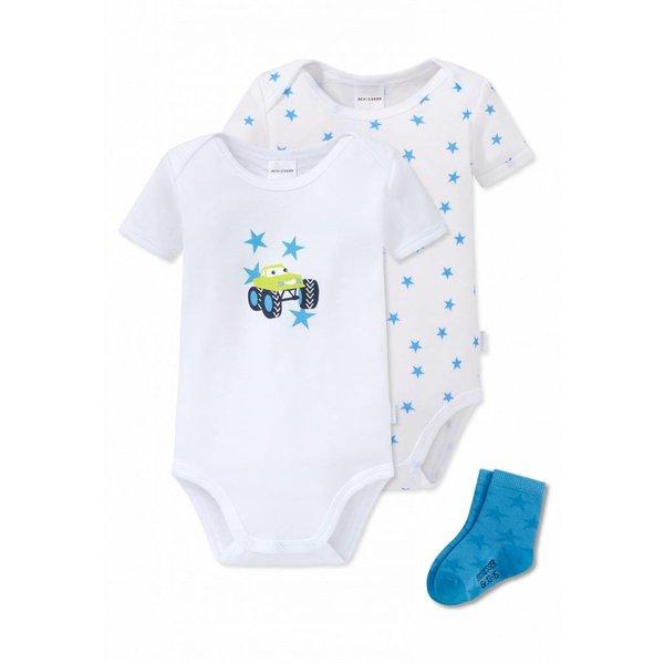 Baby Set 2 Bodys 1 Paar Socken weiss/blau
