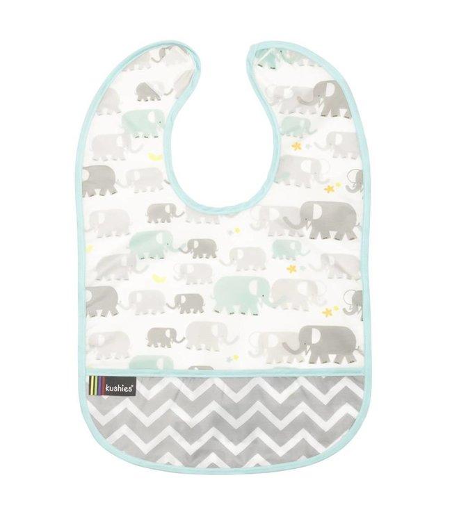 Kushies Lätzchen ohne Ärmel CleanBib Elefanten