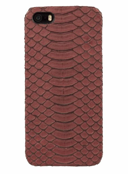 iPhone 5/5s/SE Antique Ruby Real Snake Skin Leather