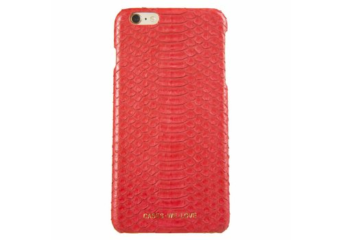 Apple iPhone 6 Plus / 6s Plus Red Lips Real Snake Skin Leather