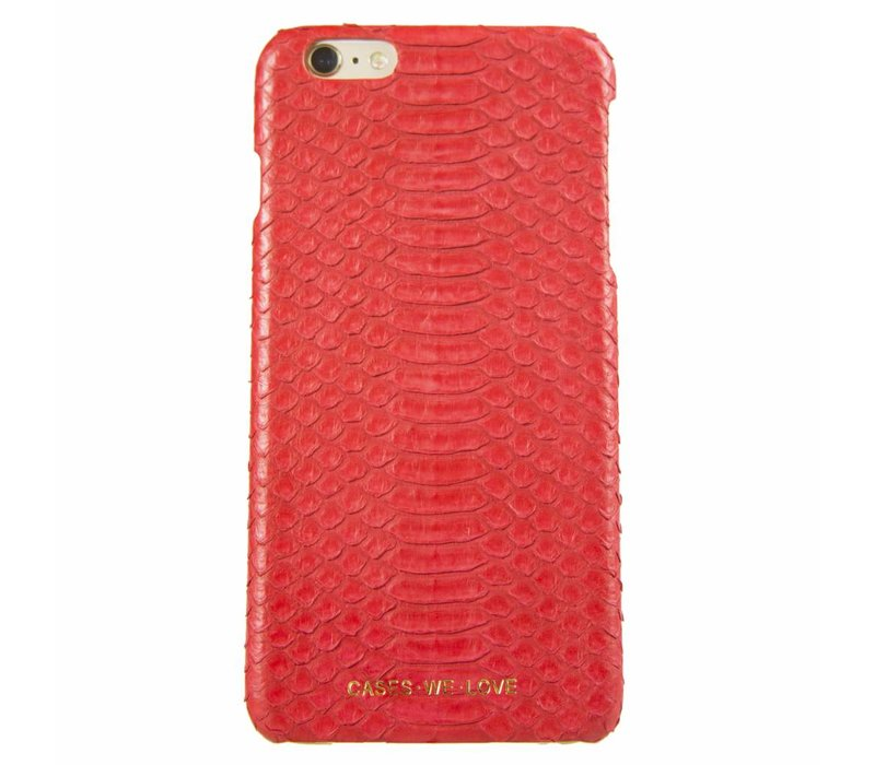 iPhone 6 Plus / 6s Plus Red Lips Real Snake Skin Leather