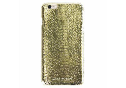 Cases We Love iPhone 6/6s Gold Real Snake Skin Leather
