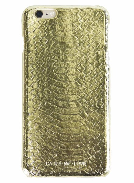 iPhone 6 Plus / 6s Plus Gold Real Snake Skin Leather