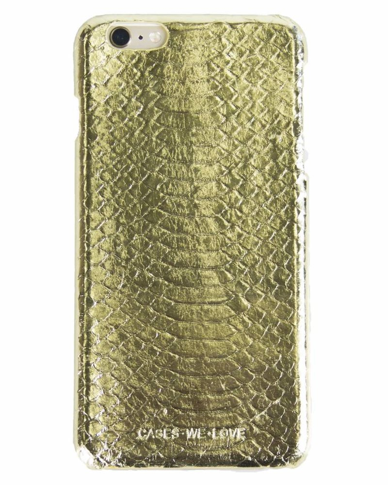 iPhone 7 Plus Gold Real Snake Skin Leather