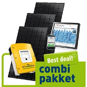 combi pakket best deal - 4 zwarte zonnepanelen - mono 1040 Wp
