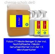 Fatzzo TT Nikotin Reiniger 5 Liter incl. Nachfüllflasche + Nikotin Geruchsentferner 2 x1 Liter + 5 Mikrofasertücher