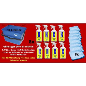 Fatzzo TT 8 x Nikotin Reiniger 1 l Sprühglasche + 8 Mikrofasertücher 40x40 + 1 leerer 14 L Eimer Kunststoff