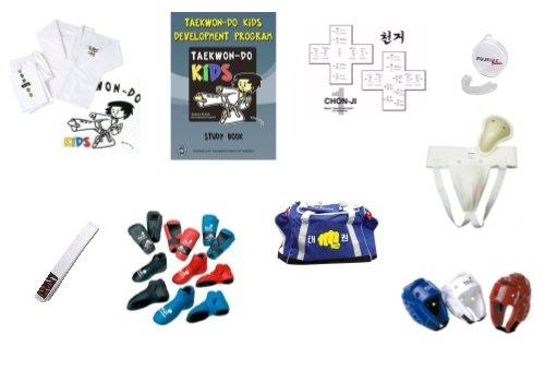 XL Chong Do Kwan Taekwon-Do kids starters pakket (hand en voetbeschermers en hoofd beschermer en tas met eigen naam)