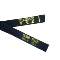 Zwarte ITF Taekwon-Do band borduren met Koreaanse naam